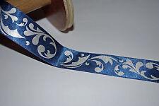 *** BLUE & SILVER SATIN - Ribbon - 25mm Wide ***
