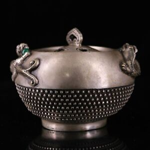 """4.1"""" Collect Chinese Paktong Inlay Gemstone Two Dragon Ears Incense Burner"""