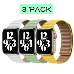 3PCS Genuine Leather Band Strap Milanese Solo Loop For Apple Watch 38/40/42/44mm