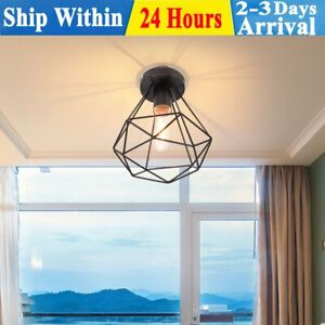 Metal Pendant Light Shade Ceiling Industrial Geometric Wire Cage Lampshade Lamp