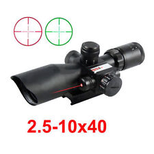 2.5-10x40 Rifle Scope Mil-dot Dual illuminated w/ Red Laser & Mount For Hunting