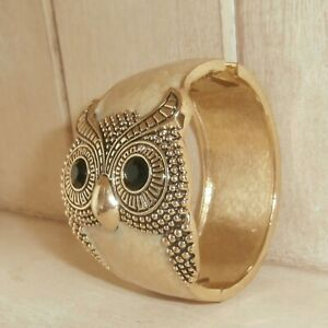 Owl bangle wristlet cuff Bracelet ~Enamel~Fun Costume Collectable~
