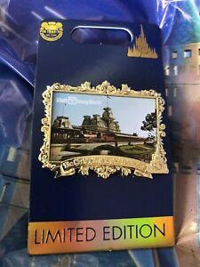 Disney Pin 50th Anniversary Postcard LE 3000 WDW Magic Kingdom Train Station