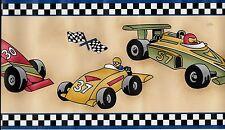 Race Cars-Checkered Flag Trim WALLPAPER BORDER