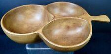 Handcrafted David Auld Wooden Monkey Pod Large Divided Leaf Shape Bowl Haiti