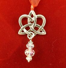 Silver Irish Celtic Trinity Knot in heart Christmas ornament with cyrstals