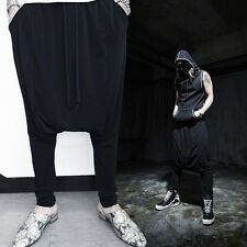 ByTheR Men's Fashion  Loose Gothic Cool Spandex Real Black Baggy Fit Pants UK