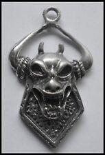 PEWTER CHARM #1231 DEVIL HEAD & HORNS 1 BAIL (38mm x 23mm) LUCIFER