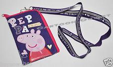 PEPPA PIG PURPLE LANYARD CASE POUCH PINS Wallet coin BAG purse PASS HOLDER FUN