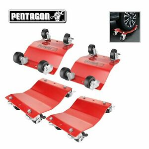 Pentagon Tool | Commercial Grade 4-Pack | Tire Dolly - Tire Skates | Red