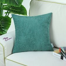 Polyester Corduroy Corn Striped Design Cushion Covers Pillows Shell 45cm X 45cm Teal