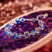 Women Girls Aurora Borealis Crystal Bracelet Square Chain Wristband Adjustable