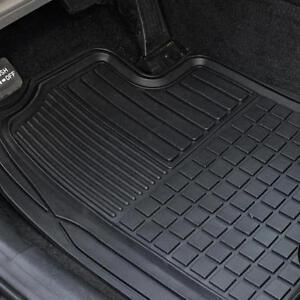 Heavy Duty Trim-Fit Rubber Car Floor Mats, Dirt Trap Grid Design Semi-Custom 2PC