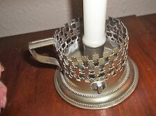 OLD UNUSUAL SILVER PLATED LARGE CANDLE HOLDER LATTICE BODY BEAD RIMS J.B. STAMP