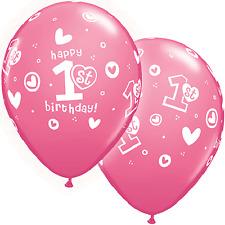 "10 pc 11"" Girl 1st Birthday Soft Print Latex Balloon Happy Birthday Party First"
