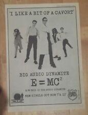 Big Audio Dynamite BAD E=MC2 1986 press advert Full page 28 x 39 cm poster