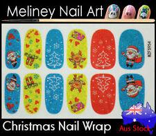 Christmas Full Cover Glitter Nail art Wraps snowflake Stickers Winter Santa tree