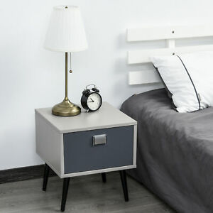 Retro Bedside Storage Table Stylish Nightstand Table w/ Drawer Metal Handle Grey