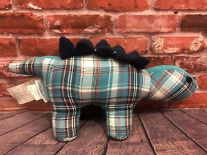 The Company Store Kids DINOSAUR Weighted Door Stopper Blue Plaid Corduroy Cotton
