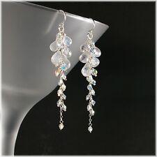 Sparkly Rainbow Moonstone & Swarovski Grape Cluster Dangle Drop Silver Earrings