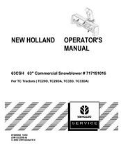 NEW HOLLAND 63CSH 63` Commercial Snowblower for TRACTOR OPERATORS MANUAL