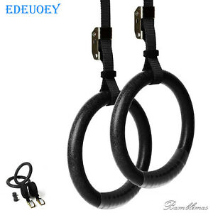 EDEUOEY Men Olympic Gymnastic Rings Adjustable Straps Double Circle Gym Rings
