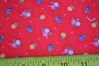 By 1/2 Yd, Vintage Yellow Green Blue on Red Quilting Cotton, Cranston, C2617