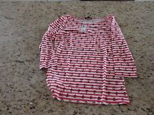 The Limited Long Sleeve Womens Navy Blue & Red Striped Nautical shirt Size XS