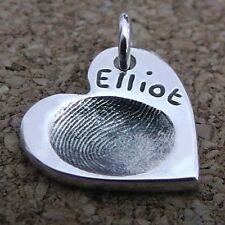Fingerprint Jewellery - Silver Fingerprint Heart Charm - Gift For Her