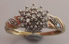 Secondhand 9ct Yellow Gold Diamond 0.25ct Round Cluster Swirl Ring Size N.