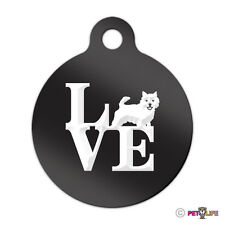Love Norwich Terrier Engraved Keychain Round Tag w/tab park Many Colors