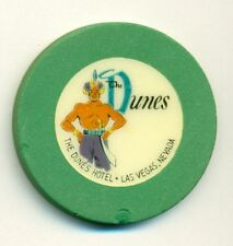 DUNES HOTEL CASINO POKER CHIP---GREEN  COLOR  ROULETTE--