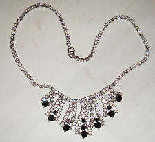 VINTAGE BLACK WHITE DIAMANTE CRYSTAL RHINESTONE DANGLE DROP NECKLACE