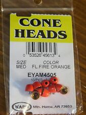Wapsi Cone Heads Painted for Fly Tying coneheads, size Medium - Fl. Fire Orange