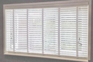 White Venetian Fauxwood blinds 35 & 50mm slats up to 2.4metres with white tapes
