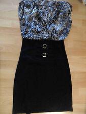 SHOW GIRLS schönes Kleid Blusenoberteil Stretchrock schwarz weiß Gr. 1 TOP ZC216
