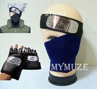3pcs Naruto Kakashi Cosplay Mask Veil + Headband + Gloves Leaf Village Ninja