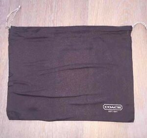 "Coach Dark Brown Satin Drawstring Dust Cover Storage Bag Dustbag 11.5"" X 9"""