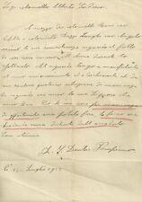 Lettera di Scuse al Colonnello ed alla Sua Signora 1922