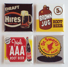 Root Beer FRIDGE MAGNET Set (1.5 x 1.5 inches each) sign soda label