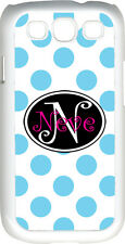 Curlz Monogrammed White and Baby Blue Polka Dot Samsung Galaxy S3 Case Cover