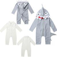 Baby Kids Boys Girls Shark Cartoon Bodysuit Romper Jumpsuit Clothes Set Outfits