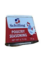 Vintage SCHILLING POULTRY SEASONING Spice Tin - No Dents - Left Facing Chicken
