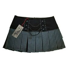 Tripp NYC Gothic Horror Punk 80 90s Gray Black Stripe Pleated Mini Skirt Size M