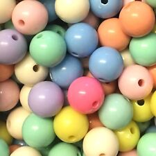 25 x 14mm funky pastel coloured bubblegum beads, assorted colours