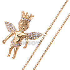 20P19 mens stainless steel Crown Baby Angel pendant 3.5mm Wheat chain necklace
