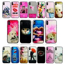 GLASS BACK STYLISH PHONE FONE COVER TPU CASE FOR APPLE IPHONE 8 & MANY DOG CATS