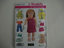 "NEW Simplicity 4654 Heigl Pattern Summer Clothes Fits 18""  Girl Dolls"