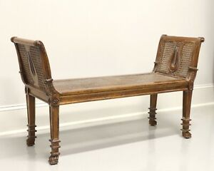 Vintage French Provincial Caned Bench with Distressed Finish