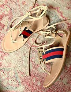 SASS & BIDE leather grosgrain ribbon trim lace up sandals sz 40 | ex cond